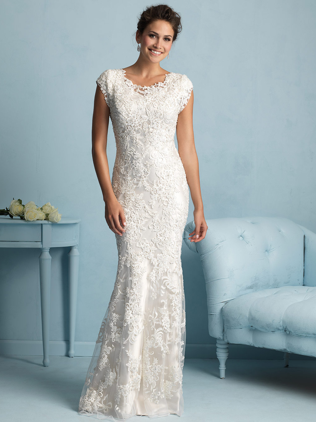 Allure modest sheath lace wedding dress m536 for Simple form fitting wedding dresses