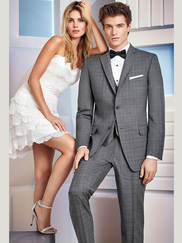 Ike Behar Ultra Slim Grey Plaid Prom Tux