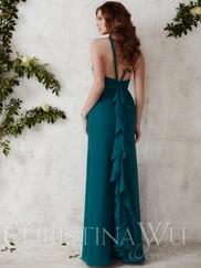 Halter Chiffon Floor Length Christina Wu Occasions Bridesmaid Dress 22682