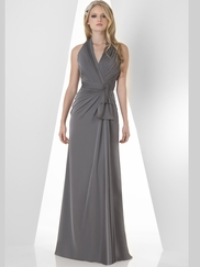 Halter Pleated Bridesmaid Dress Bari Jay 869