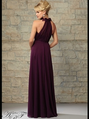 Halter Pleated Flowing A-line Angelina Faccenda Bridesmaid Dress 20456