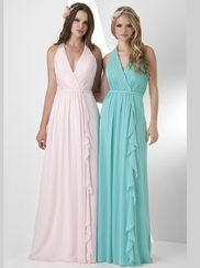 Halter Ruched Bridesmaid Dress Bari Jay 859