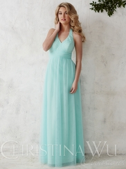 Halter Tulle Floor Length A-line Christina Wu Occasions Bridesmaid Dress 22690