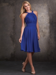 High Halter Neckline Allure Bridesmaids Short Dress 1426
