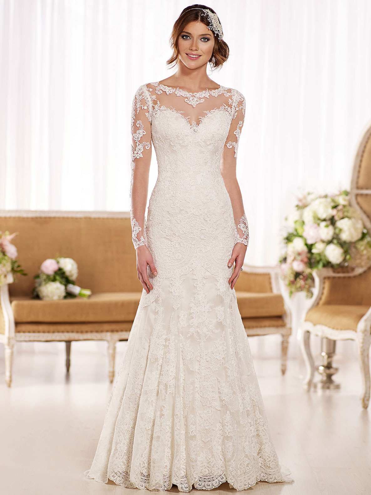 High Illusion Neckline Essense Wedding Gown D1863