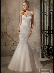 High Neck Beaded Net Mermaid Mori Lee Wedding Dress 2723