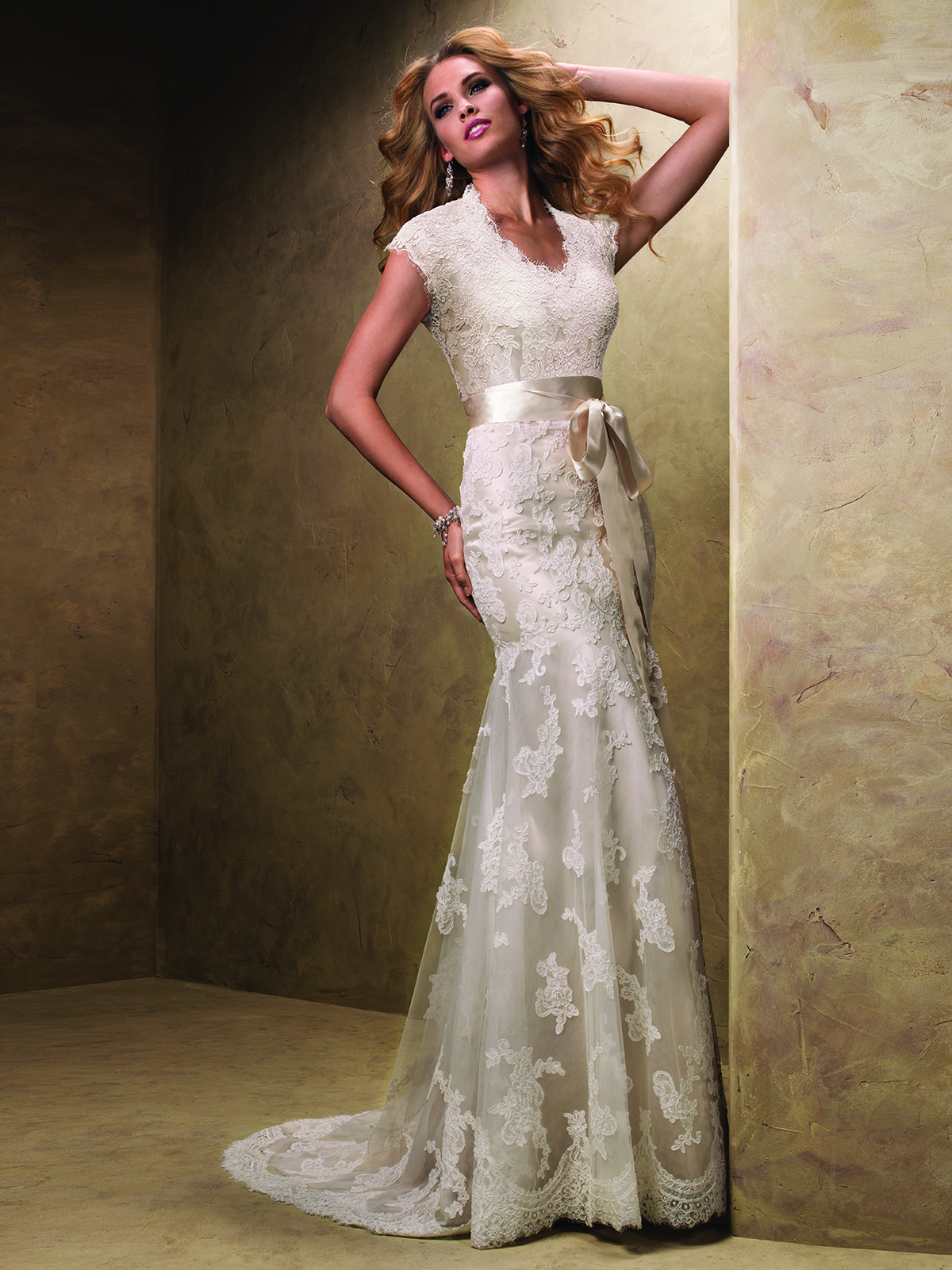Cap sleeved slim flare bridal gown by maggie sottero for Maggie sottero mckenzie wedding dress