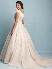High Neckline Cap Sleeved Allure Modest Wedding Dress M530
