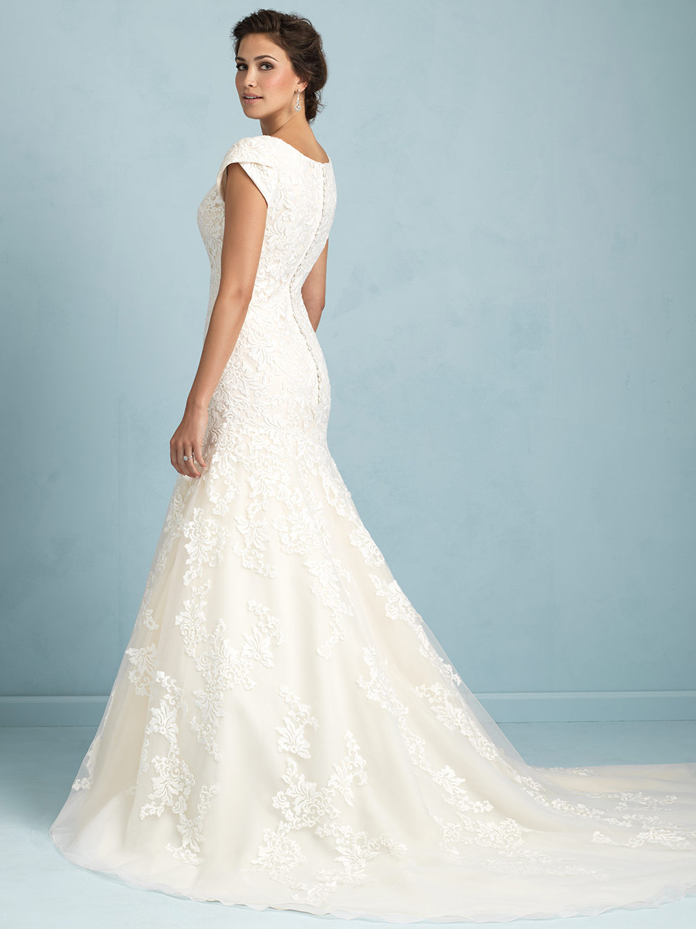 Allure modest lace bodice wedding dress m531 for Allure modest wedding dresses