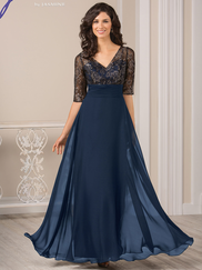 Jade J185015 V-neck Floral Lace Mother Of The Bride Dress