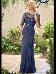 Jade J195016 Illusion Boat Neckline Mother Of The Bride