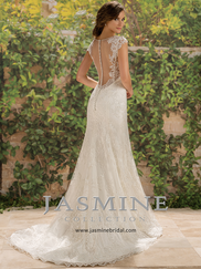 Jasmine F181007 Lace Cap Sleeves Wedding Dress