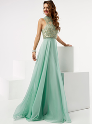 Jasz Couture 5979 High Neck Beaded Prom Gown
