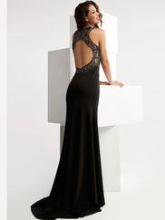 Jasz Couture 6056 High Neck Beaded Prom Gown
