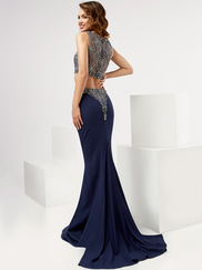 Jasz Couture 6112 High Neck Beaded Prom Gown