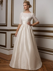 Justin Alexander 8816 Lace Sabrina Neckline Wedding Dress