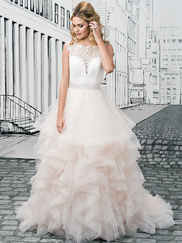 Justin Alexander 8888 Illusion Sabrina Neckline Wedding Dress