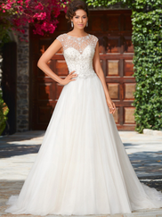 Kitty Chen Illusion Scoop Neckline Bridal Gown Fatima