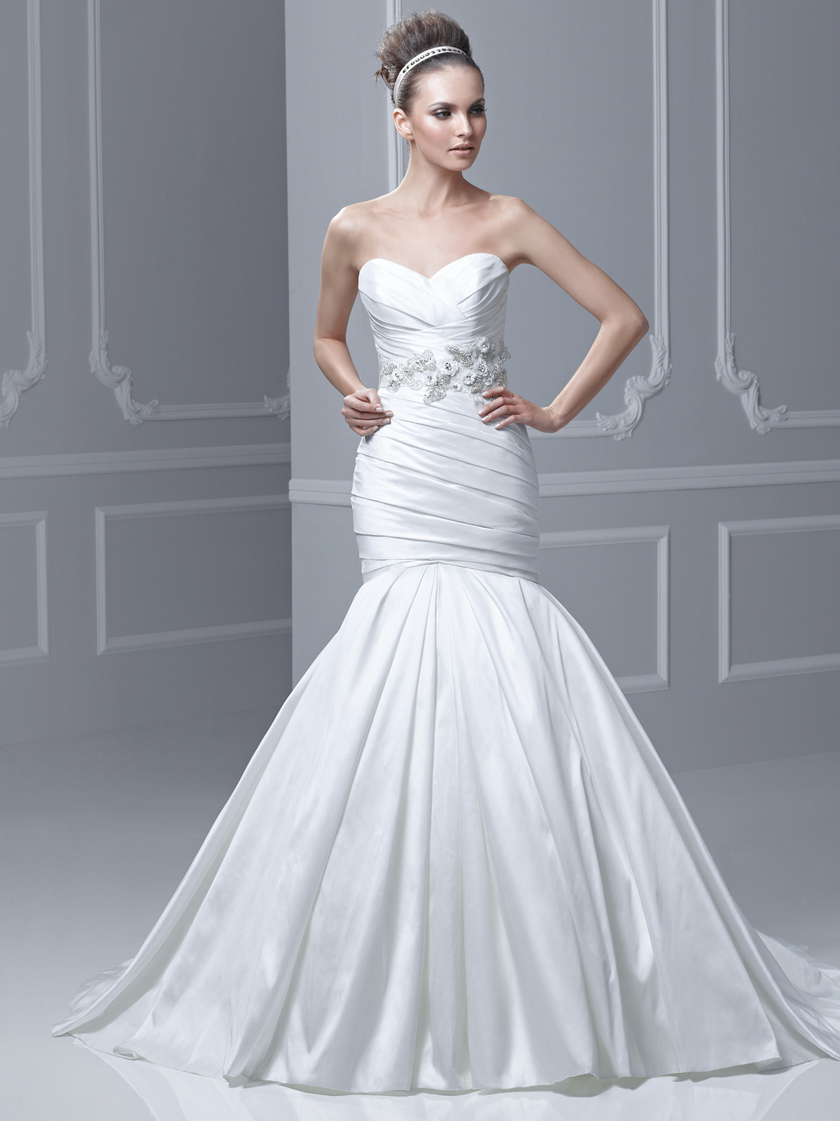 Strapless Lace Accent Ball Gown Blue by Enzoani Bridal Gown Formosa ...