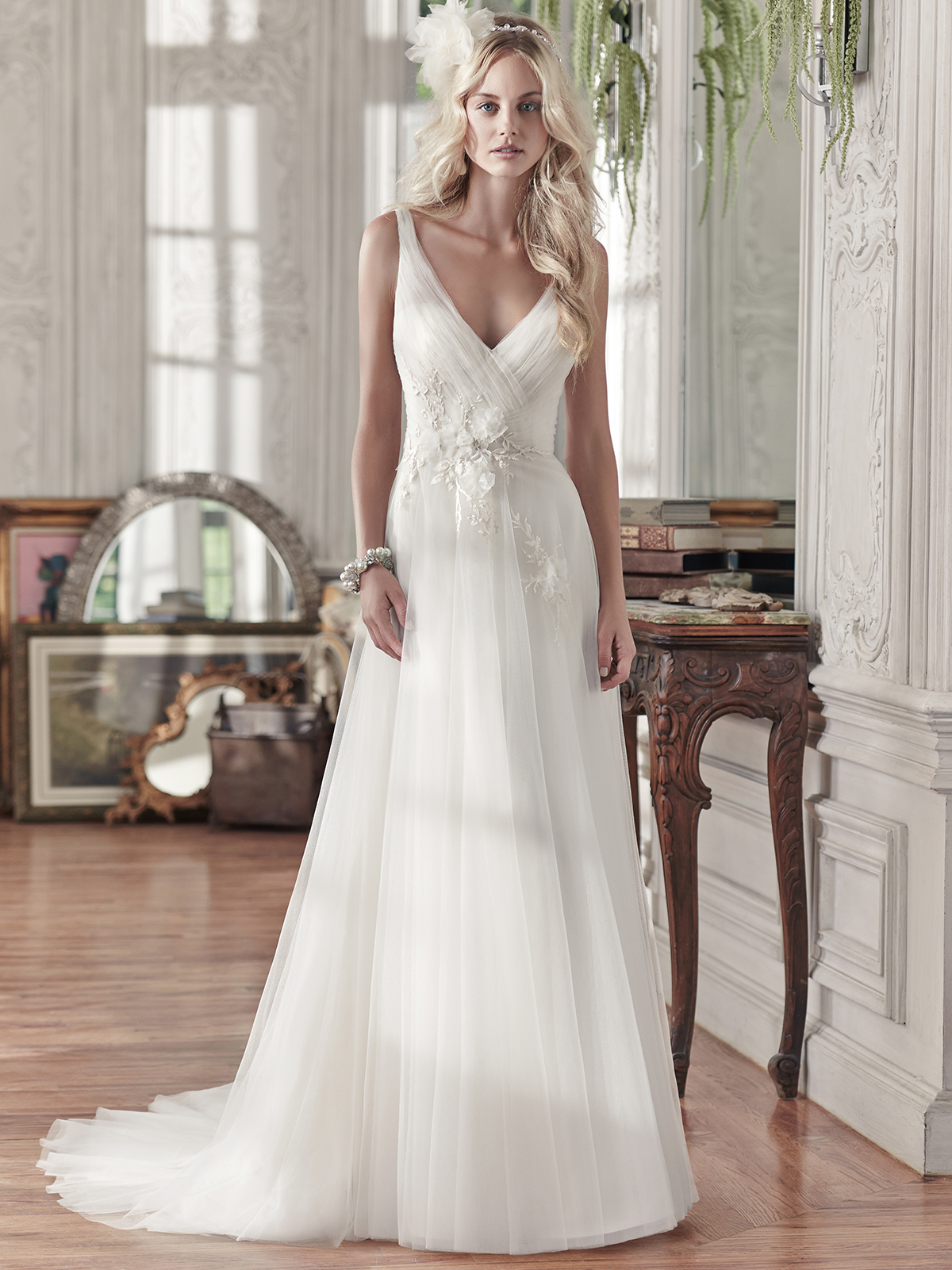 Maggie Sottero Ladelle V-neck Tulle A-line Bridal Dress ...
