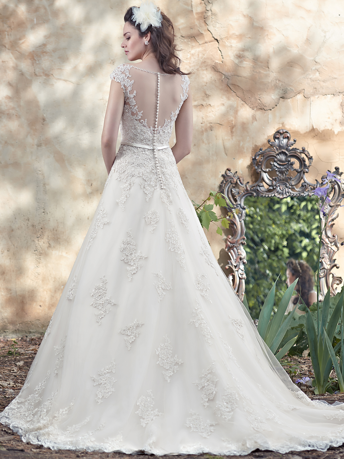 Maggie sottero morgan tulle ball gown bridal dress for Illusion sweetheart neckline wedding dress