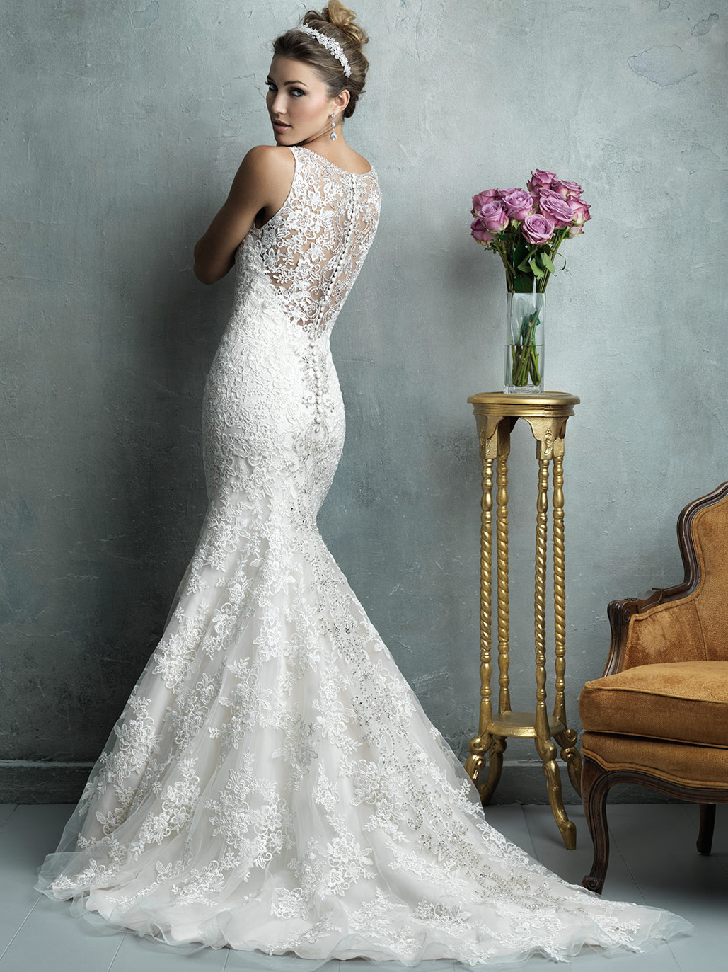Allure Couture Sleeveless Mermaid Wedding Dress C322|DimitraDesigns.com