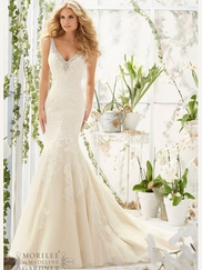 Mori Lee 2803 V-neck Lace Bridal Dress