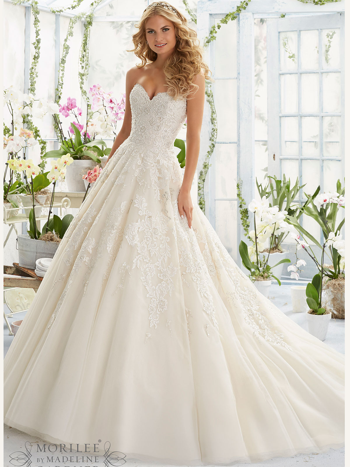 Mori lee 2808 sweetheart ball gown bridal dress for Beading for wedding dress