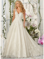 Mori Lee 2813 V-neck Beaded Bridal Dress