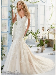 Mori Lee 2816 V-neck Beaded Lace Bridal Dress