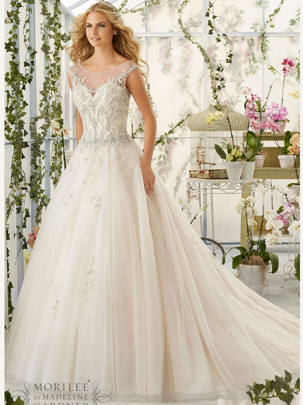 Mori Lee 2818 Illusion Bateau Neckline Bridal Dress
