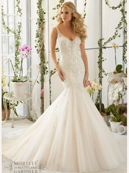 Mori Lee 2823 V-neck Beaded Bridal Dress