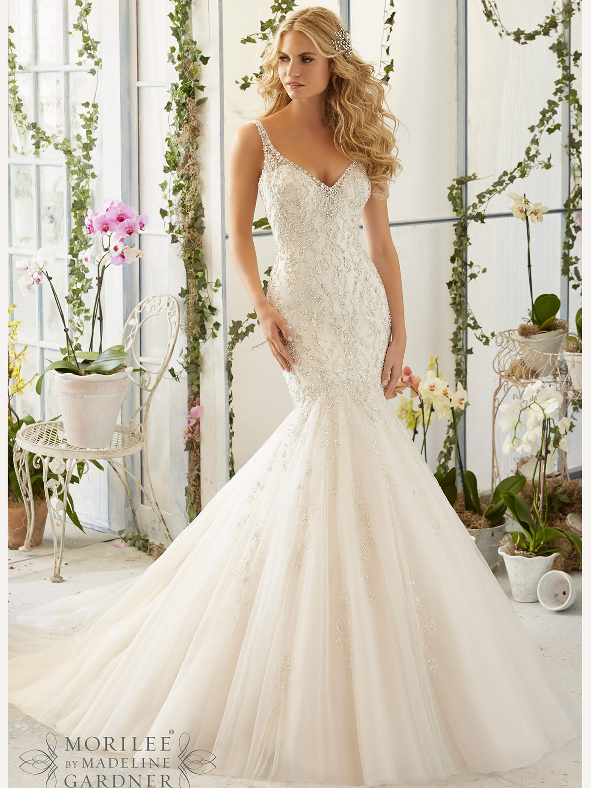Mori lee 2823 v neck tulle mermaid bridal dress for Mori lee wedding dresses