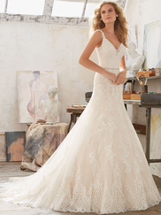 Mori Lee 8122 V-neck Wedding Dress Mariana