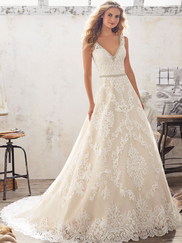Mori Lee 8124 V-neck Wedding Dress Morgan