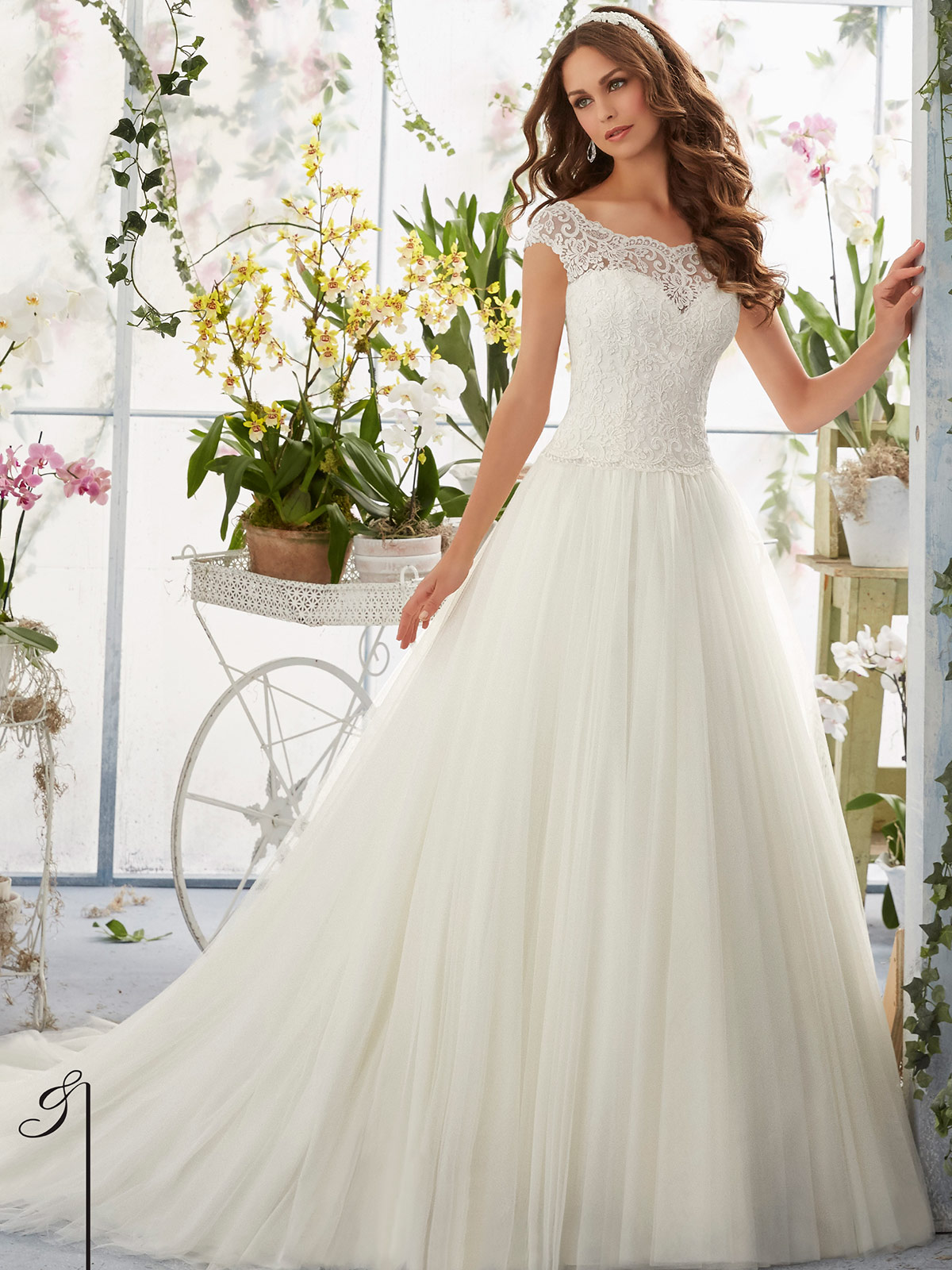 Mori Lee Blu 5403 Cap Sleeves Ball Gown Bridal Dress