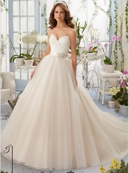 Mori Lee Blu 5408 Shoestring Straps Wedding Dress