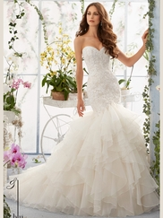 Mori Lee Blu 5409 Sweetheart Lace Wedding Dress