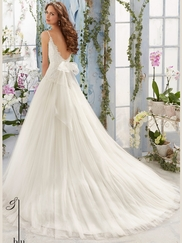 Mori Lee Blu 5411 V-neck Embroidered Wedding Dress