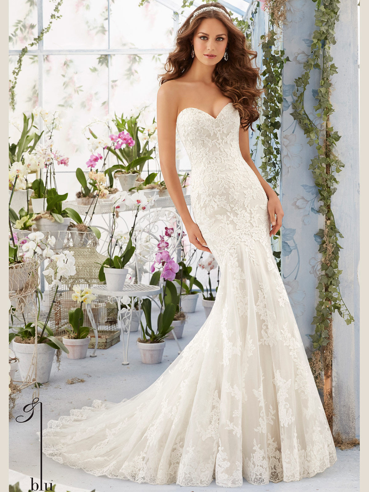Mori Lee Blu 5413 Sweetheart Lace Floor Length Bridal Gown
