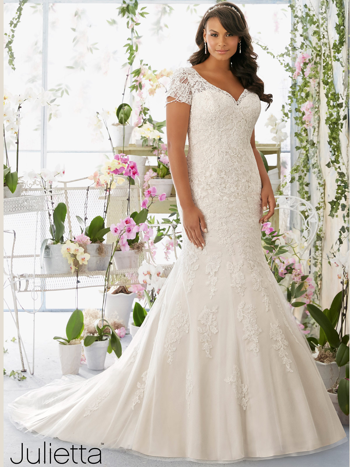 Mori lee julietta 3197 v neck mermaid bridal dress for Plus size mermaid wedding dresses with sleeves