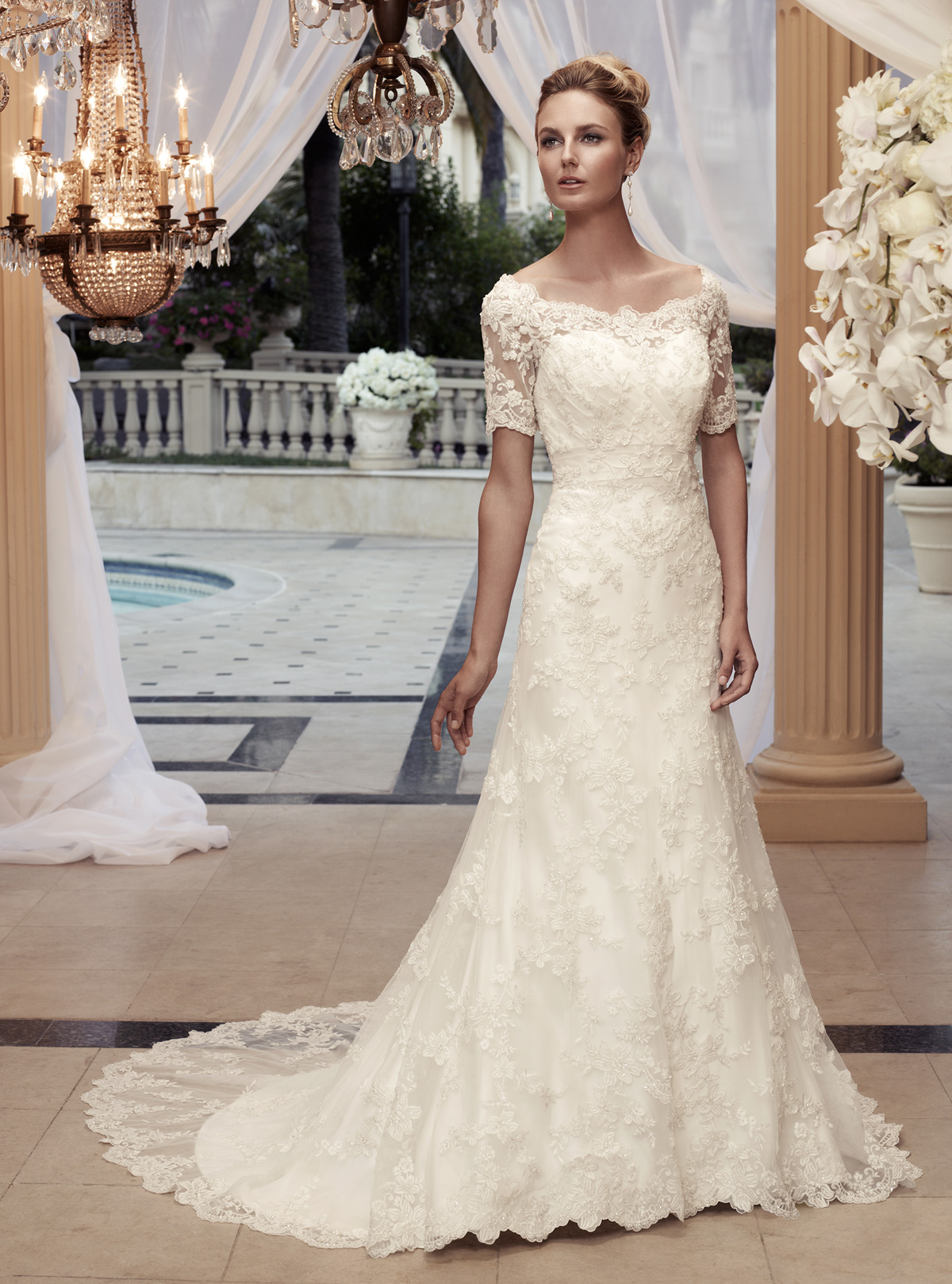 Off the shoulder a line casablanca bridal gown 2119 for Lace overlay wedding dress