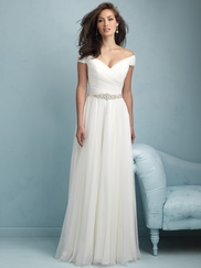 Off The Shoulder Ruched Floor Length A-line Allure Wedding Dress 9211