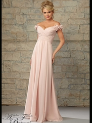 Off The Shoulder Ruched Floor Length Angelina Faccenda Bridesmaid Dress 20453