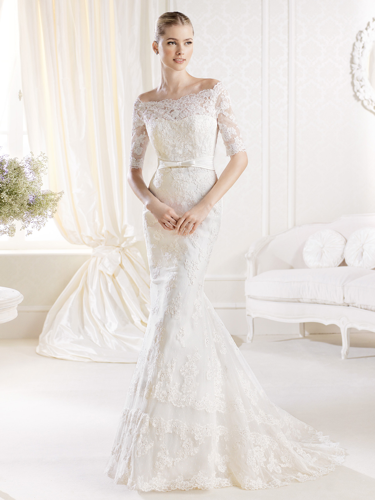 Latest off the shoulder wedding dresses 2016 what woman for Off shoulder wedding dress