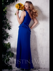 One Shoulder Chiffon Slim A-line Christina Wu Occasions Bridesmaid Dress 22657