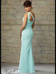 One Shoulder Ruched Chiffon Floor Length Angelina Faccenda Bridesmaid Dress 20452