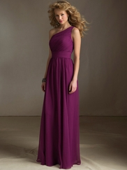 One Shoulder Ruched Mori Lee Angelina Faccenda Bridesmaid Dress 20415