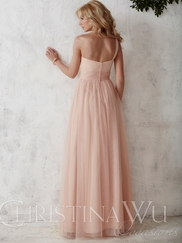 One Shoulder Tulle A-line Christina Wu Occasions Bridesmaid Dress 22691