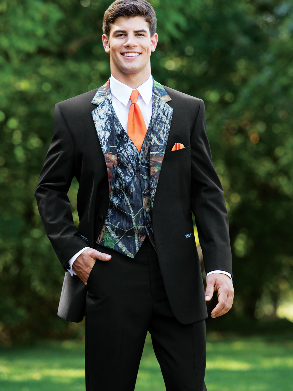 Modern fit camouflage tuxedo for prom for The tuxedo house